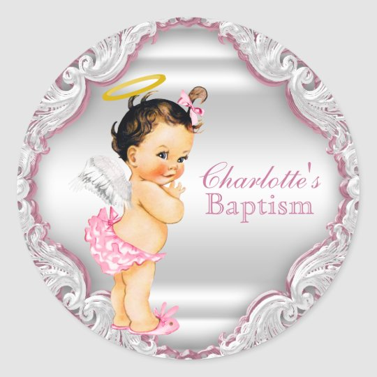 Girls Angel Baptism Christening Classic Round Sticker