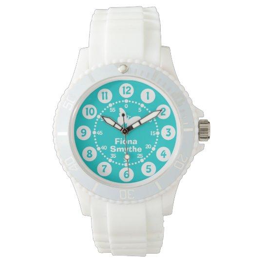 Girls aqua teal & white full name wrist