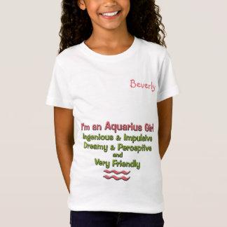 Girl's Aquarius Zodiac Tee   Pink and Green   Name