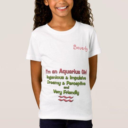 Girl's Aquarius Zodiac Tee | Pink and Green | Name