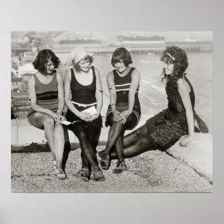 Girls at Atlantic City Beach 1922 Posters
