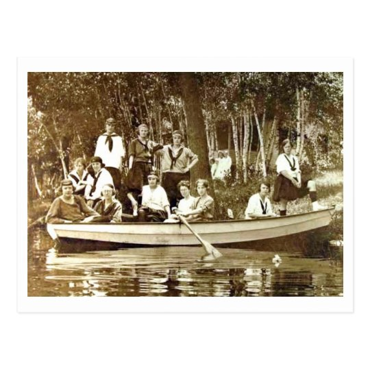 Girls at Camp in Row Boat Vintage Postcard