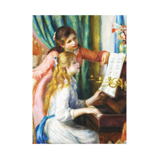 Girls at the Piano Pierre Auguste Renoir painting Stretched Canvas Print