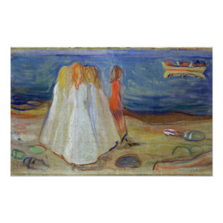 Girls at the Seaside, 1906 Poster