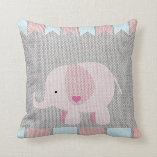 Girls & Baby Grey & Pink Elephant Pillow