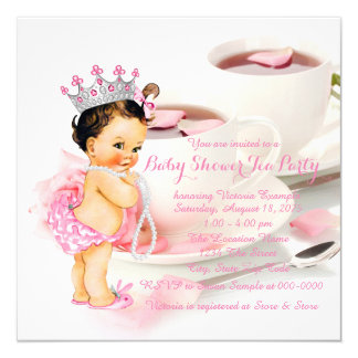 Girls Baby Shower Tea Party 13 Cm X 13 Cm Square Invitation Card