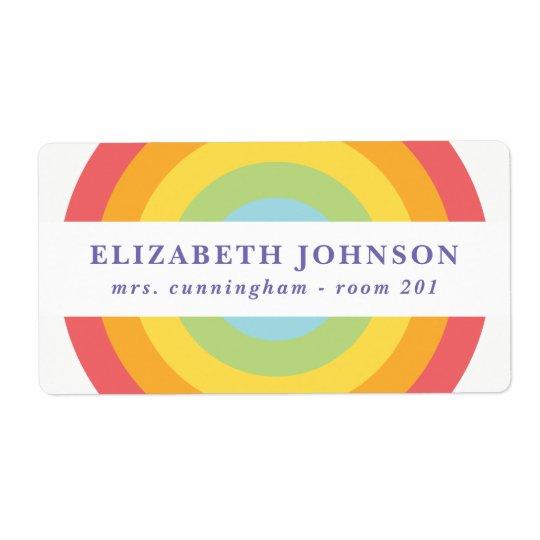 Girls Back to School Rainbow Label 2 Shipping Label