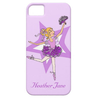 Girls ballerina blonde hair purple iphone5 case iPhone 5 cover