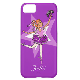 Girls ballerina purple red hair name case iPhone 5C case