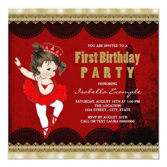 Girls Ballerina Vintage Paris First Birthday Party Card