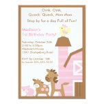 Girls Barn Animal Fun Birthday Party Announcements