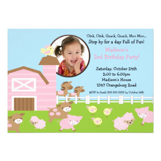 Girls Barn Animal Fun Photo Birthday Invitation