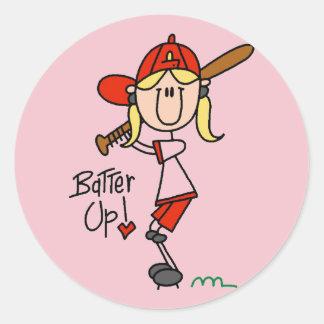 Girls Baseball Batter Up Tshirts and Gifts Round Sticker