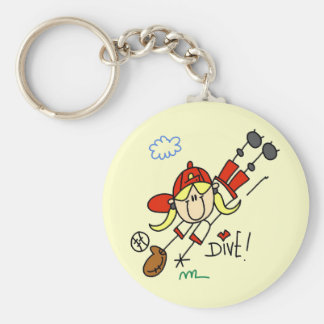 Girls Baseball Diving into Home Tshirts and Gifts Key Chain