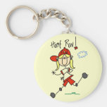 Girl's Baseball Home Run Tshirts and Gifts Basic Round Button Key Ring