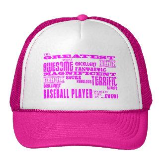 Girls Baseball Pink Greatest Baseball Player Hats