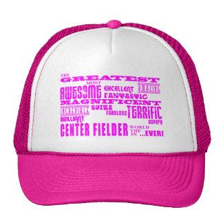 Girls Baseball Pink Greatest Center Fielder Mesh Hats