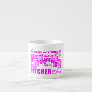 Girls Baseball Pink Greatest Pitcher Espresso Mugs