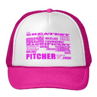 Girls Baseball Pink Greatest Pitcher Trucker Hat
