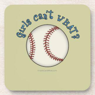 Girls Baseball-Sky Blue Beverage Coaster