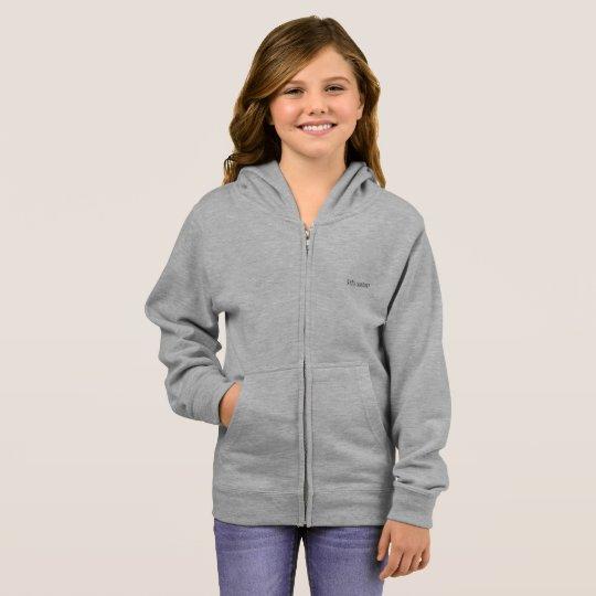 girl's basic zip hoodie grey heather