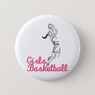 Girls Basketball 6 Cm Round Badge