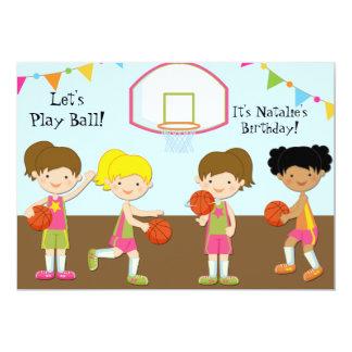 Girls Basketball Birthday 5x7 Invitation
