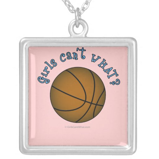 Girls Basketball - Brown/Sky Blue Square Pendant Necklace