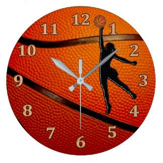 Girls Basketball Clock, Girls Basketball Bedroom Large Clock