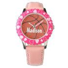 Girls Basketball Cute Pink Custom Wrist Watch