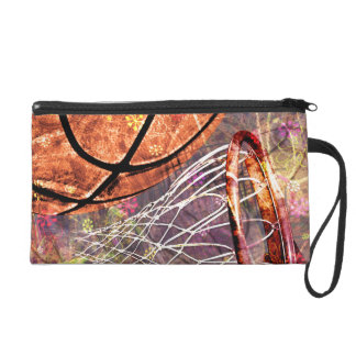 Girls Basketball Sporty Grunge Girly Purple Pink Wristlet