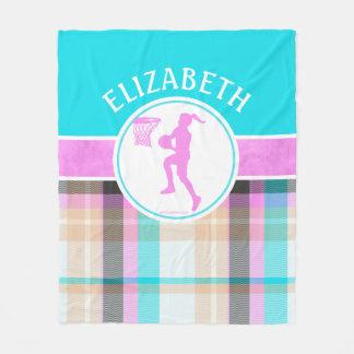 Girl's Basketball Summer Tartan With Monogram Fleece Blanket