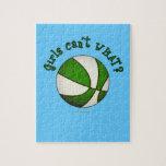 Girls Basketball - White/Green Jigsaw Puzzles