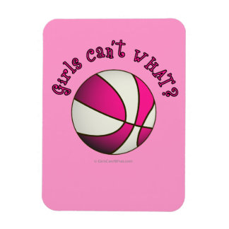 Girls Basketball - White/Pink Rectangle Magnets