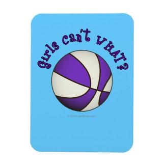 Girls Basketball - White/Purple Flexible Magnets