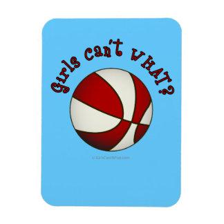 Girls Basketball - White/Red Rectangular Magnets