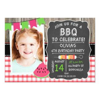 Girls BBQ Photo Birthday Party Invitation