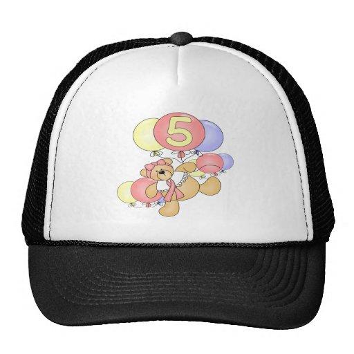 Girls Bear 5th Birthday Gifts Mesh Hats
