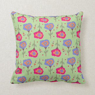 Girl's Bedroom Green Floral Pattern Pillow