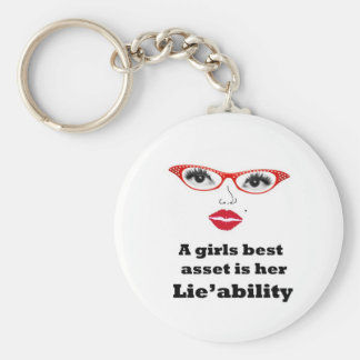 girls best asset is lieability basic round button key ring