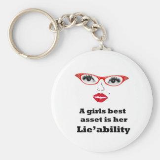 girls best asset is lieability basic round button key ring