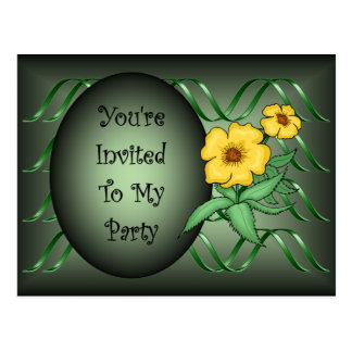 Girls Birthday Invite ~Green Ribbons~Yellow Flower Postcard