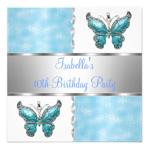 Girls Birthday Party Butterfly Blue White Flower Invites