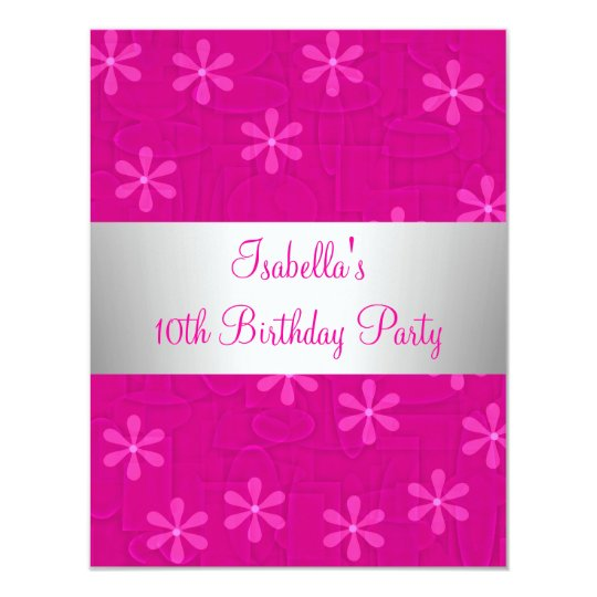 Girls Birthday Party Hot Pink Flowers Card
