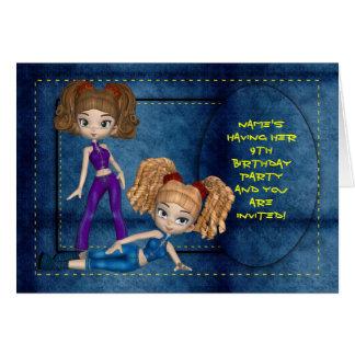 Girls Birthday Party Invitation, Denim Dolls Greeting Card
