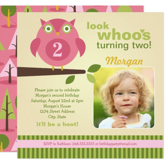 Girl's Birthday Party Photo Invitation | Owl Theme