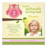 Girl's Birthday Party Photo Invitation | Owl Theme 13 Cm X 13 Cm Square Invitation Card