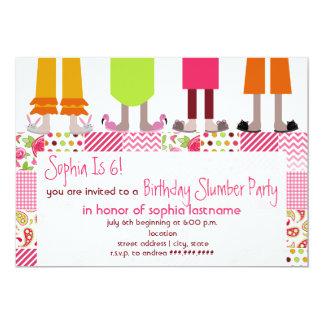 Girls Birthday Slumber Party Sleepover Patchwork 5x7 Paper Invitation Card