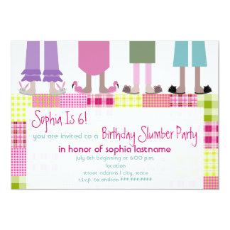 Girls Birthday Slumber Party Sleepover Plaid 5x7 Paper Invitation Card