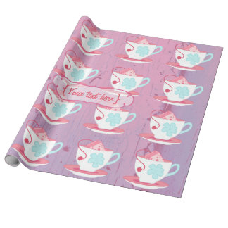 Girl's Birthday Tea Party Shabby-Chic Personalized Wrapping Paper